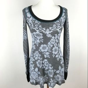 Free People Womens Waffle Knit Floral Top XS Blue